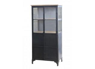 Černá kovová skříň s policemi a prosklenými dveřmi Davi - 64*36*140cm