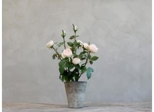 Dekorace umělá růžová růže v květináči Old - 44 cm