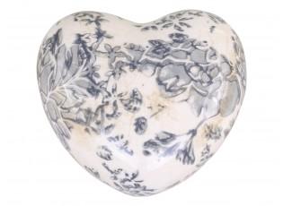 Keramické dekorační srdce se šedými květy Melun - 8*8*4 cm