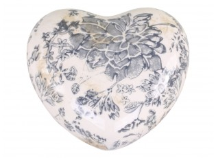 Keramické dekorační srdce se šedými květy Melun - 11*11*4 cm