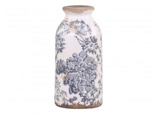 Keramická dekorační váza se šedými květy Melun -  Ø 8*16 cm