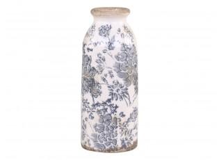 Keramická dekorační váza se šedými květy Melun -  Ø 8*20cm