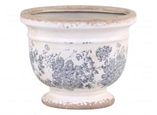Keramický obal na květináč se šedými květy Melun French -  Ø 17*14cm