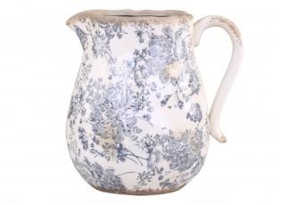 Keramický dekorační džbán se šedými květy Melun -  20*16*20cm