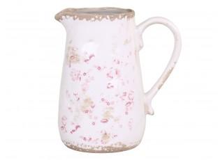 Keramický dekorační džbán s růžovými květy Floral -  16*11*19cm