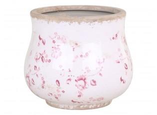 Keramický obal na květináč s růžovými kvítky Floral Cannes - Ø15*13cm