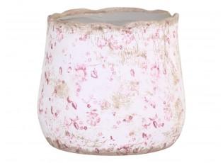 Keramický obal na květináč s růžovými kvítky Floral Cannes - Ø17*16cm