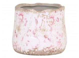 Keramický obal na květináč s růžovými kvítky Floral Cannes - Ø11*10cm