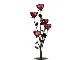 Kovový svícen na čajovou svíčku s pěti červenými skleněnými miskami ve tvaru květiny - 25,5*29*54,5 cm