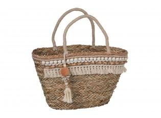 Boho plážová taška/košík s mušličkami a třásněmi - 46*20*48cm