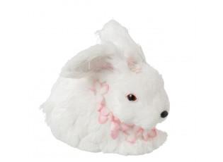 Dekorace králíček s květy kolem krku - 14*23*20 cm