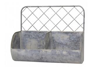 Nástěnná plechová police s patinou a 2 boxy Zinc - 34*15*28cm