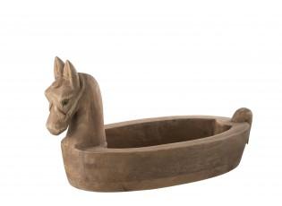 Dřevěná dekorační miska s hlavou koně Morse - 39*18*20cm