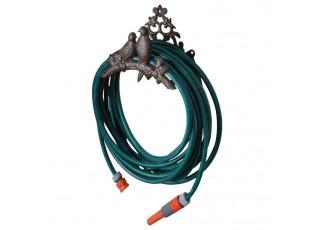 Hnědý litinový nástěnný držák na zahradní hadici  - 25*16*18 cm