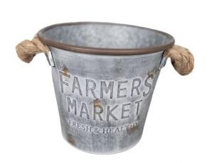 Plechový dekorační kyblík / květináč s jutovými uchy Farmers Market - Ø 21*19 cm