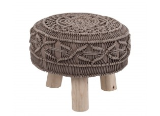 Bavlněný sedák Macrame taupe na dřevěných nožkách - Ø 40*30cm
