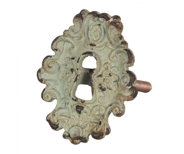 Kovová zelená vintage úchytka - 5*4*7 cm
