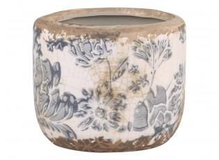 Keramický obal na květináč se šedými květy Melun French -  Ø 8*7cm