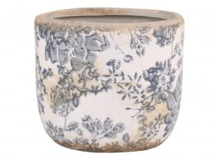 Keramický obal na květináč se šedými květy Melun French -  Ø 11*10cm
