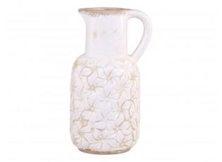 Krémový keramický džbán s květy Colmar -  16*14*30cm