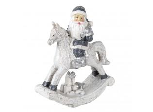 Dekorace Santa na houpacím koni s dárkem - 13*6*17 cm
