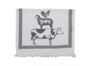 Kuchyňský froté ručník s krávou, ovcí a slepicí - 40*66 cm