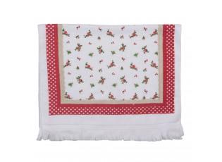 Kuchyňský froté ručník s květy a červeným okrajem - 40*66 cm
