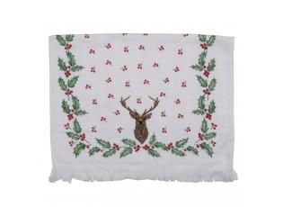 Kuchyňský froté ručník s jelenem a cesmínou  - 40*66 cm