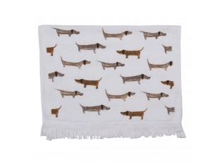 Bílý kuchyňský froté ručník s jezevčíky  - 40*66 cm