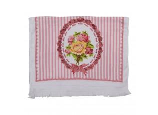 Kuchyňský froté ručník s růží a proužkem - 40*66 cm