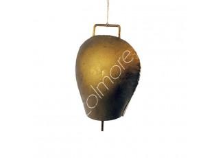 Zlatý rustic kovový zvonek ve tvaru kravského zvonu - 6*4*7cm