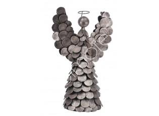 Měděný kovový anděl s černou patinou Anjeel  - 23*14*33cm