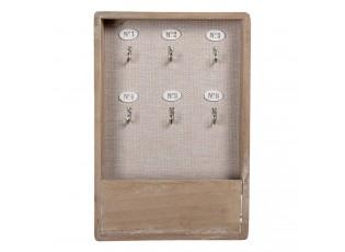 Hnědý dřevěný věšák na klíče s patinou - 20*5*30 cm