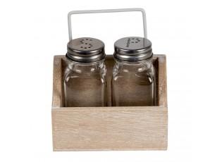 Skleněná solnička a pepřenka v dřevěném stojánku - 11*6*12 cm