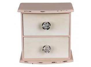Růžová skříňka s bílými šuplíčky Lauren - 20*13*20 cm