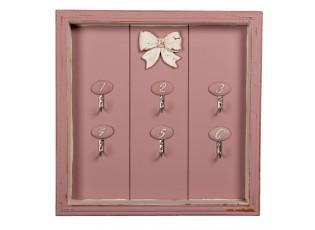 Růžový dřevěný věšák na klíčeb Betsy - 30*4*30 cm