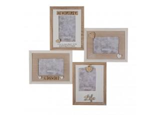 Dřevěný krémovo-hnědý fotorámeček s patinu na 4 fotofrafie - 54*2*54 cm