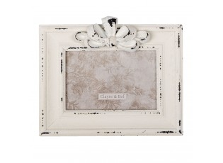 Krémový dřevěný fotorámečk s mašlí - 19*3*16 cm / 13*9 cm