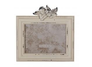 Bílý dřevěný fotorámeček a andílkem - 24*5*24 cm / 18*13 cm