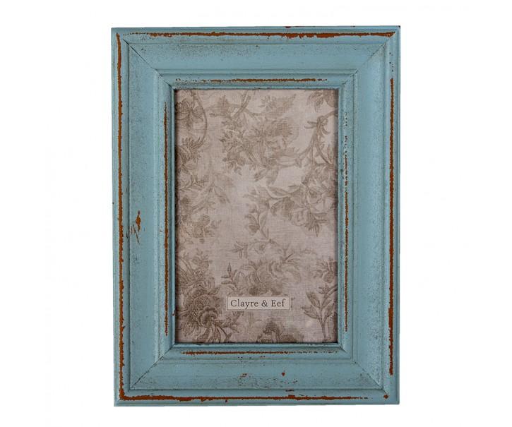 Dřevěný modrý vintage fotorámeček  - 16*1*21 cm / 10*15 cm