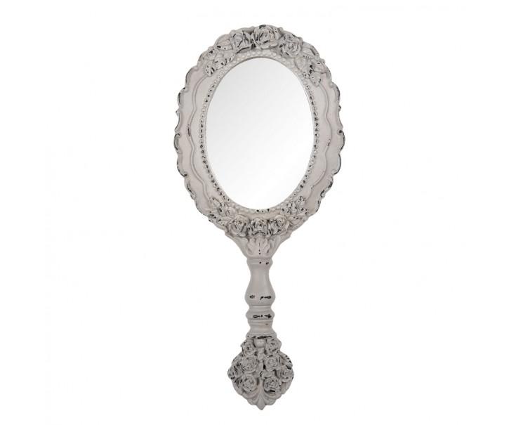 Příruční zdobené šedé zrcátko - 12*2*28 cm