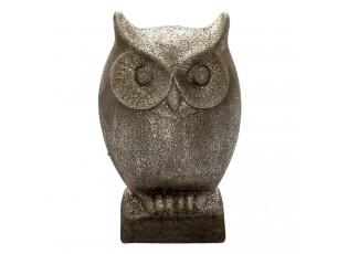 Šedá keramická dekorace sova s patinou - 17*13*29 cm
