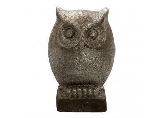 Šedá keramická dekorace sova s patinou - 15*10*23 cm