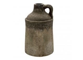 Šedý keramický dekorační džbán s uchem a patinou Tatum - Ø 16*28 cm