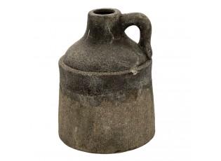 Šedý keramický dekorační džbán s uchem a patinou Tatum - Ø 15*20 cm