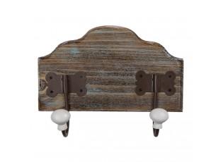 Dřevěný věšák s bílými knopkami Lionel - 25*9*19 cm