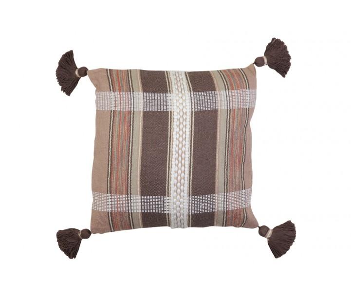 Hnědý károvaný polštář Araza old brown se střapci - 45*45 cm