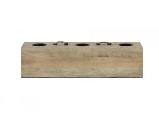 Dřevěná stolní lampa na 3 žárovky Rinca - 36*9*9 / E27