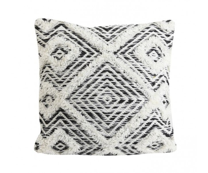 Bílo-černý polštář Udim s ornamenty a třásněmi - 45*45 cm