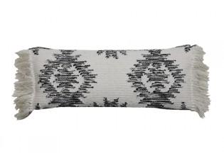 Bílo-černý polštář Rimago s ornamenty a třásněmi - 70*30 cm